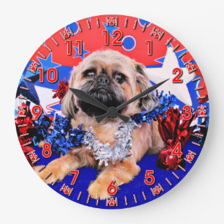 July 4th - Brussels Griffon - Oliver Large Clock