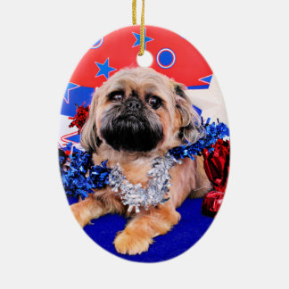 July 4th - Brussels Griffon - Oliver Double-Sided Oval Ceramic Christmas Ornament