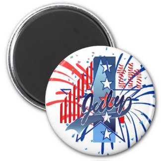 JULY 4th by SHARON SHARPE 2 Inch Round Magnet