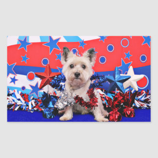 July 4th - Cairn Terrier - Roxy Rectangle Sticker