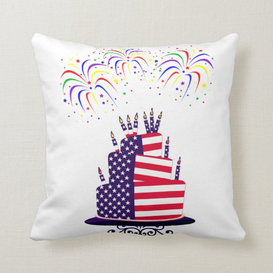 July 4th Cake Throw Pillow 20 x 20