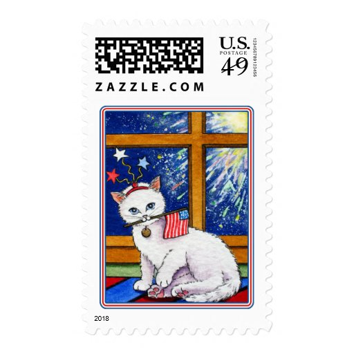 July 4th cat stamp