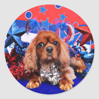July 4th - Cavalier King Charles Spaniel - Cooper Classic Round Sticker