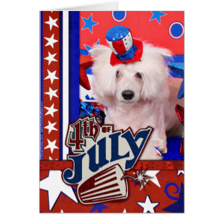 July 4th - Chinese Crested - Dash Greeting Card