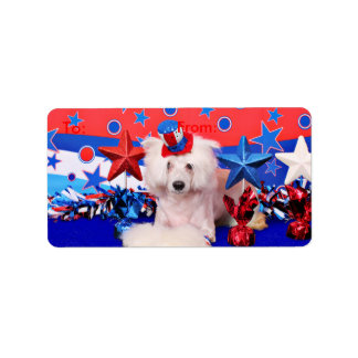 July 4th - Chinese Crested - Dash Address Label