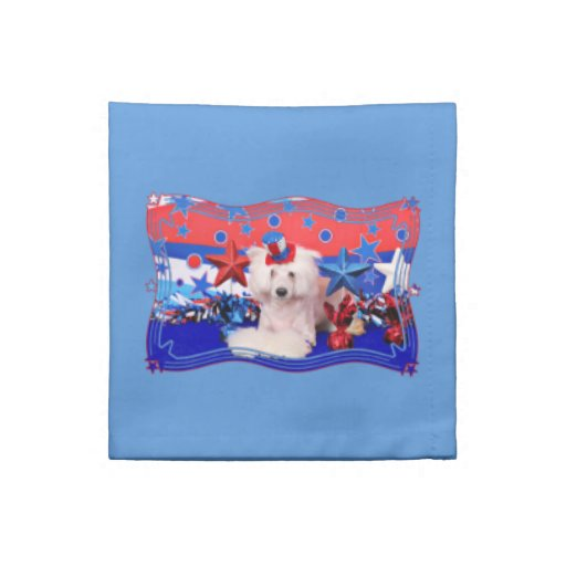 July 4th - Chinese Crested - Dash Printed Napkin