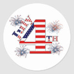 July 4th classic round sticker