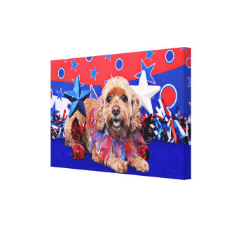 July 4th - Cockapoo - Sophie Stretched Canvas Print