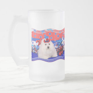 July 4th - Coton de Tulear - Claire Frosted Glass Beer Mug