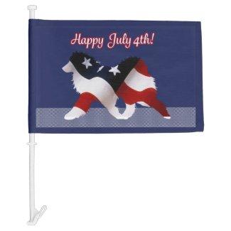 July 4th Custom Car Flag: Samoyed with Flag