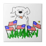 July 4th Dog with Flags Ceramic Tiles