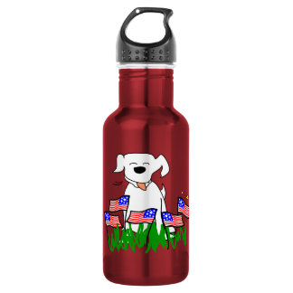 July 4th Dog with Flags Stainless Steel Water Bottle