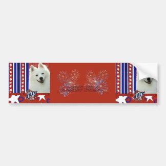 July 4th Firecracker - American Eskimo Bumper Sticker