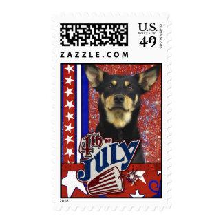 July 4th Firecracker - Australian Kelpie Stamps