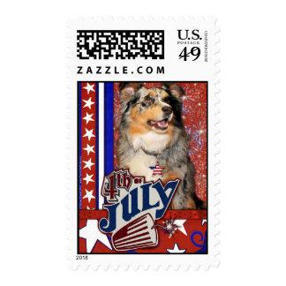 July 4th Firecracker - Australian Shepherd Stamps