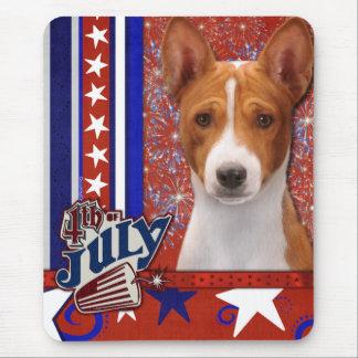 July 4th Firecracker - Basenji Mouse Pad