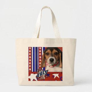 July 4th Firecracker - Beagle Puppy Tote Bag