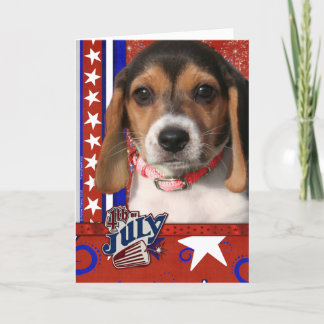 July 4th Firecracker - Beagle Puppy Card