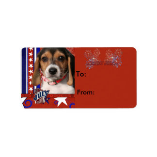 July 4th Firecracker - Beagle Puppy Label