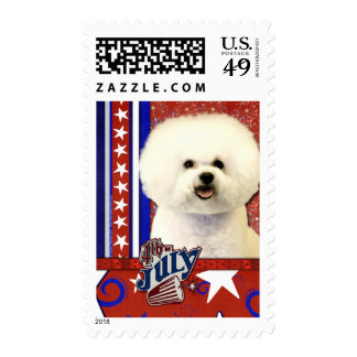 July 4th Firecracker - Bichon Frise Postage Stamps