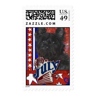 July 4th Firecracker - Cairn Terrier Dark - Rosco Postage Stamp
