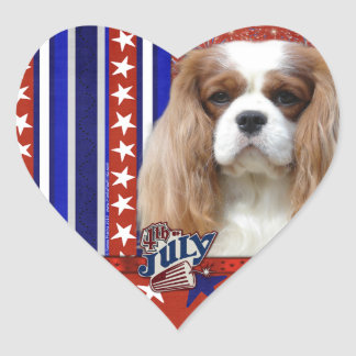 July 4th Firecracker - Cavalier - Blenheim Heart Sticker