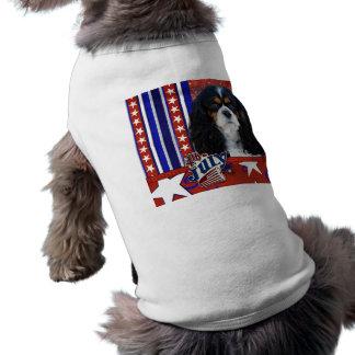July 4th Firecracker - Cavalier - Tri-color Dog T-shirt
