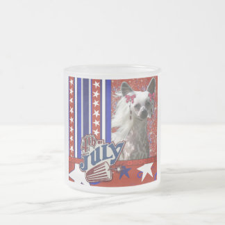 July 4th Firecracker - Chinese Crested - Kahlo 10 Oz Frosted Glass Coffee Mug