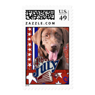 July 4th Firecracker - Chocolate Labrador Stamps