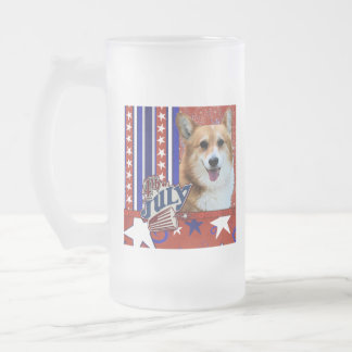 July 4th Firecracker - Corgi - Owen Frosted Glass Beer Mug
