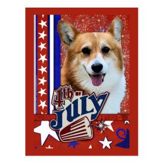 July 4th Firecracker - Corgi Postcard