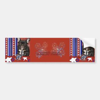 July 4th Firecracker - French Bulldog - Teal Car Bumper Sticker