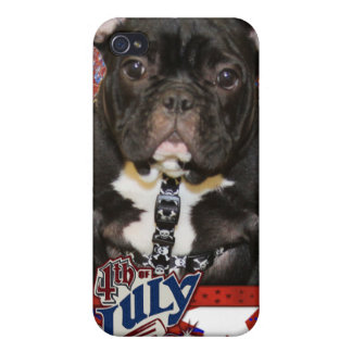 July 4th Firecracker - French Bulldog - Teal iPhone 4/4S Cover