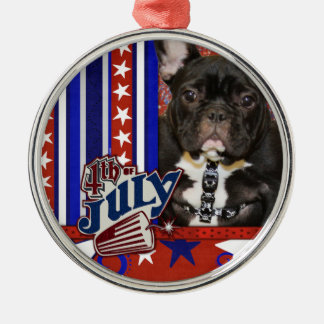 July 4th Firecracker - French Bulldog - Teal Round Metal Christmas Ornament