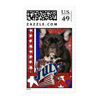 July 4th Firecracker - French Bulldog - Teal Stamps