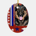 July 4th Firecracker - German Shepherd - Kuno Christmas Ornament