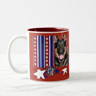 July 4th Firecracker - German Shepherd - Kuno Two-Tone Coffee Mug