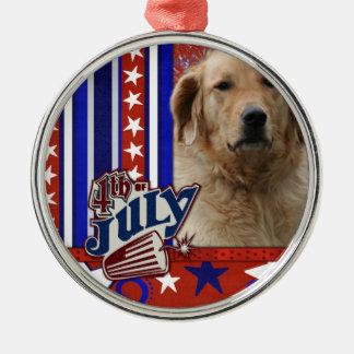 July 4th Firecracker - Golden Retriever - Mickey Round Metal Christmas Ornament