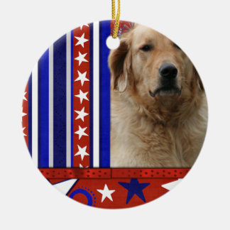 July 4th Firecracker - Golden Retriever - Mickey Double-Sided Ceramic Round Christmas Ornament