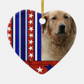 July 4th Firecracker - Golden Retriever - Mickey Double-Sided Heart Ceramic Christmas Ornament