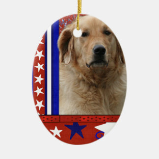 July 4th Firecracker - Golden Retriever - Mickey Double-Sided Oval Ceramic Christmas Ornament