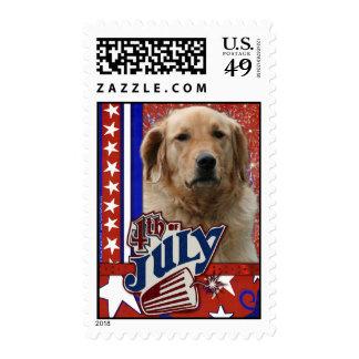 July 4th Firecracker - Golden Retriever Postage Stamp
