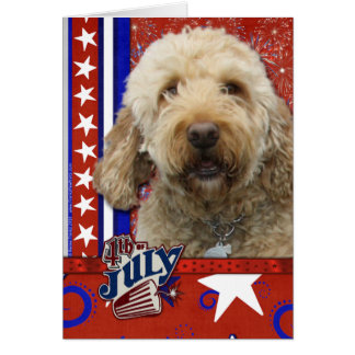 July 4th Firecracker - GoldenDoodle Card