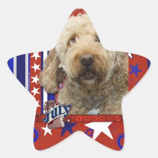 July 4th Firecracker - GoldenDoodle Star Sticker