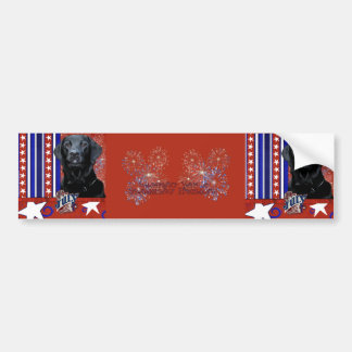July 4th Firecracker - Labrador - Black - Gage Bumper Stickers