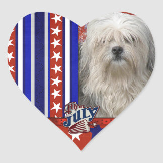 July 4th Firecracker - Lowchen Heart Sticker