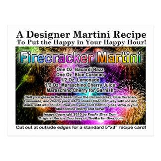 July 4th Firecracker Martini Recipe Postcard
