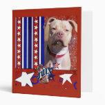 July 4th Firecracker - Pitbull - Jersey Girl 3 Ring Binders