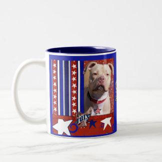 July 4th Firecracker - Pitbull - Jersey Girl Two-Tone Coffee Mug