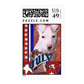 July 4th Firecracker - Pitbull Postage Stamps
